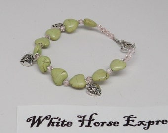 Green Howlite Love Heart Beads Wire Wrapped Beading Wire Lobster Claw Closure Silver Toned Heart Charms Pink Swarovski Crystal Beads