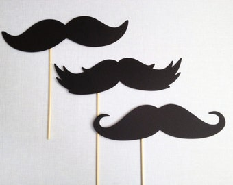 "3 - 10"" Oversized Mustaches - Photo Booth Props - Photo Booth Mustaches - Mustache Photobooth - Big Mustaches"