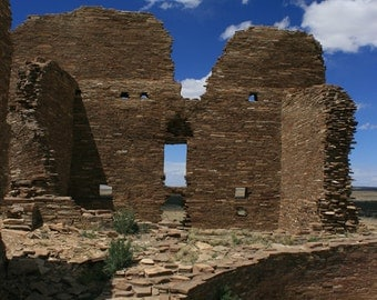 Pueblo Pintado, Photography, Chaco Canyon Outlier, New Mexico, ruins, ancient, anasazi, rocks, blue sky, Val Isenhower