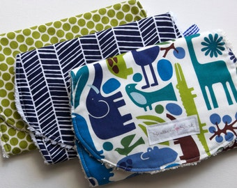 Baby Burp Cloths - Set of Three - Modern Safari Collection
