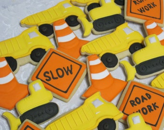 Highway Construction Cookies Birthday Party Favors, Road Builder Cookies, Bulldozer, Dump Truck, Safety Cone, Sign, Custom Cookies