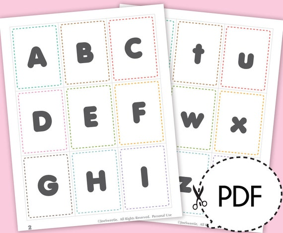 Wild image with alphabet printable flash cards