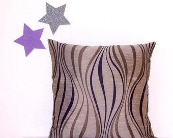 "16"" x 16"" Decorator Pillow, Tan Purple Taupe Pillow Cover,  Accent Toss Pillow"
