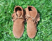 BROWN LEATHER MOCCASINS / Large Unisex