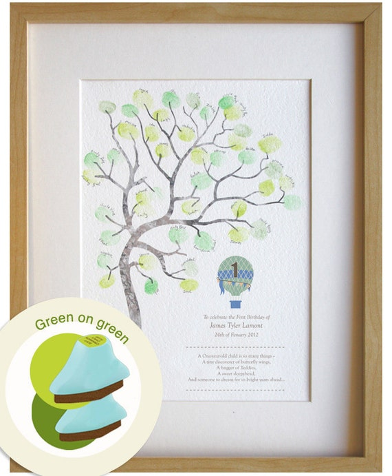 Baby Gift For 1 Year Old Boy : Boy birthday gift year old fingerprint tree diy baby room