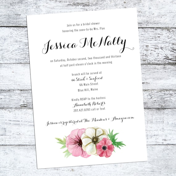 Rustic Bridal Shower Invite, bridal shower invitation  - The Anemone - floral, watercolor, flowers, swag, engagement party, calligraphy