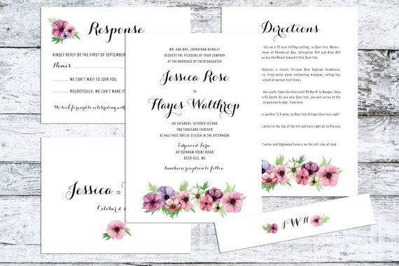 Floral Wedding Invitation, Wedding Invitation  - The Anemone - Rustic wedding invitation, shabby chic, flowers, floral, pink, watercolor