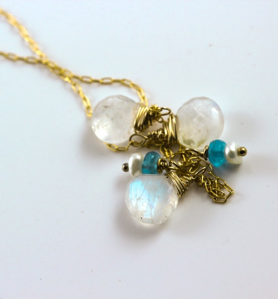 Items similar to Birthstone necklace ,moonstone and ...