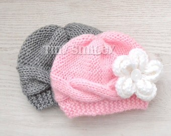 Twin Baby Girl Hats, Twin Gray and Pink Flower Baby Hats, Twin Knit Hats, Twin Baby Outfits, Newborn Twin Hats, Knit Cable Twin Hats, Twin