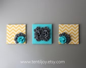 "Three Wall Art Canvases, Yellow, Turquoise and Gray Chevron Wall Art, 3D Wall Decor, Felt 12x12"" Wall Hangings"