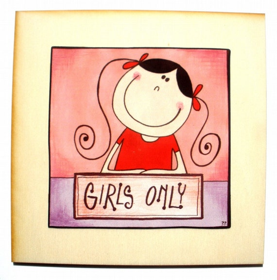 A Fun Bedroom Door Sign GIRLS ONLY By StripedCats On Etsy