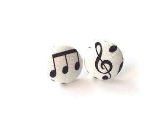 Music Notes Button Earring Size Small