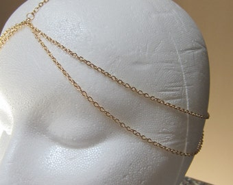 Five  Strand GOLD Chain Head Piece Hair Headband Chain