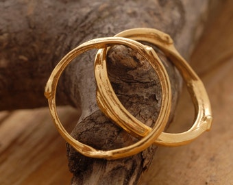 Modern Wedding Band Set, Men's and Women's Wedding Rings, 24KT Plated Gold Bridal Rings, Tree Branch Rings BE35x