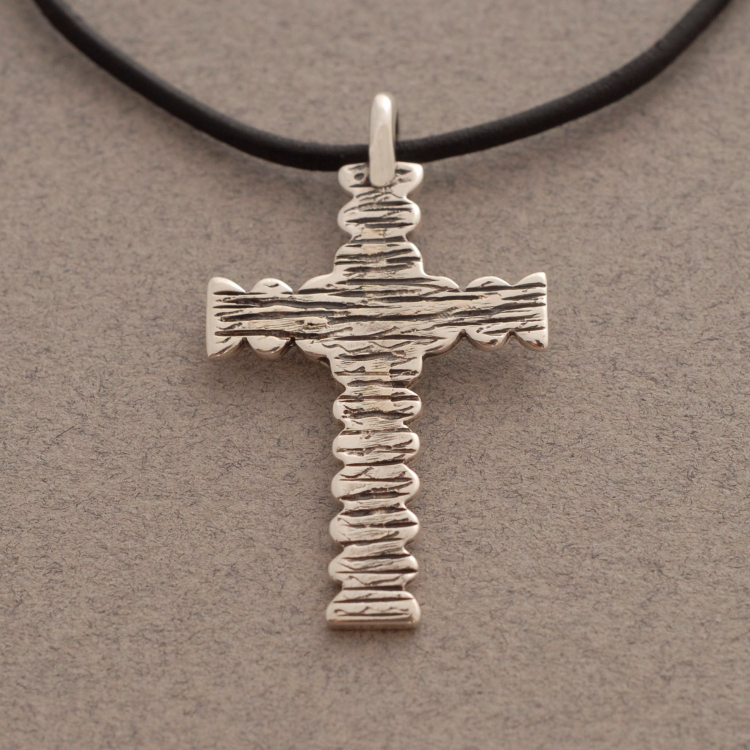 mens cross necklace sterling silver cross on leather cord for