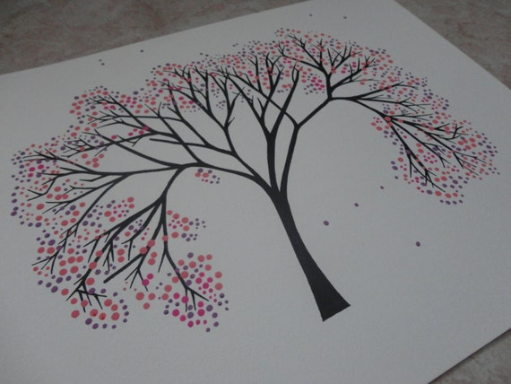 Items Similar To Japanese Cherry Tree Drawing, Abstract
