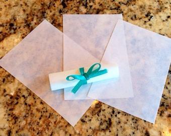 Message Scrolls w/ribbon 25pc - Vellum translucent paper