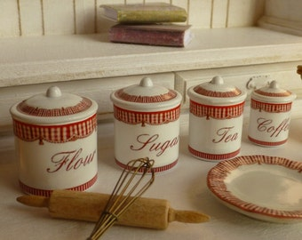 Dollhouse Miniature Kitchen Country Red Gingham Canisters In 1 12