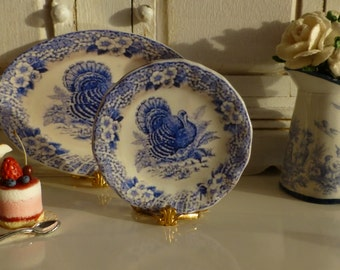 Blue and White Floral Turkey Dollhouse Miniature Plate