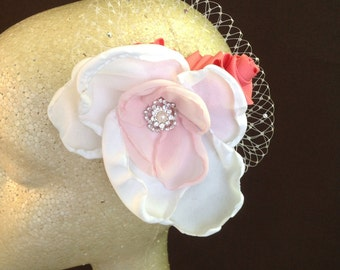 PINK AND WHITE Handmade Flower Hair Clip Fascinator