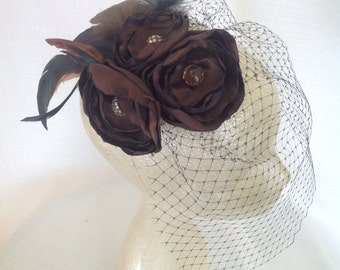 Fascinator Hair Clip in Black and Chocolate Brown