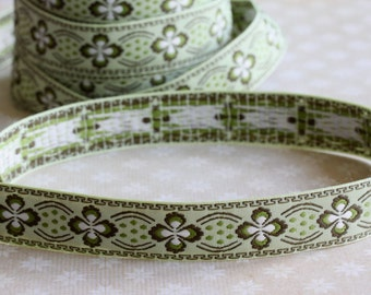 Green Embroidered Ribbon