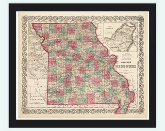 Old Map Missouri State 1869 United States of America