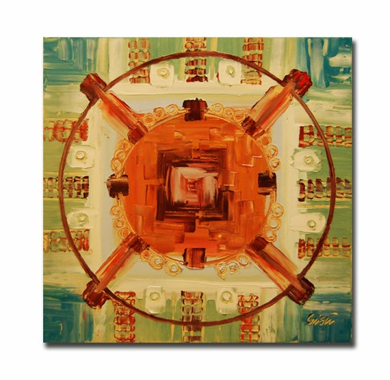 ORIGINAL mandala painting, spiritual art, meditation art, mandala art, geometric art, green, orange