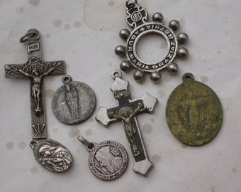 French  Antique large  French Vintage religious medal pendant  Religious  engraved corss Gothic cross reliquary