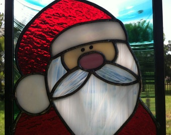 Stained Glass Christmas Santa