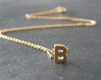 Initial Letter B Necklace, Gold Initial, Personalized Necklace, Initial Jewelry, Simple, Everyday