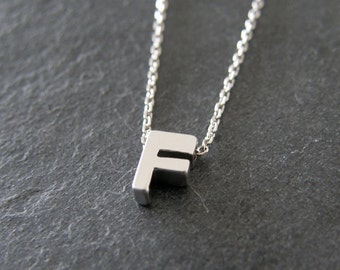 Personalized Necklace, Silver Initial Letter F Necklace, Bridesmaids Gift, Simple, Modern, Everyday