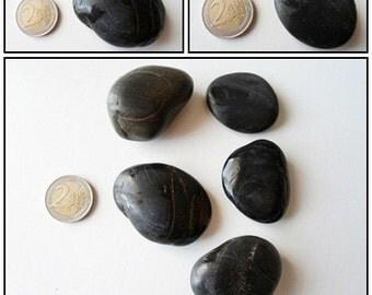 5 natural BLACK beach, sea stones