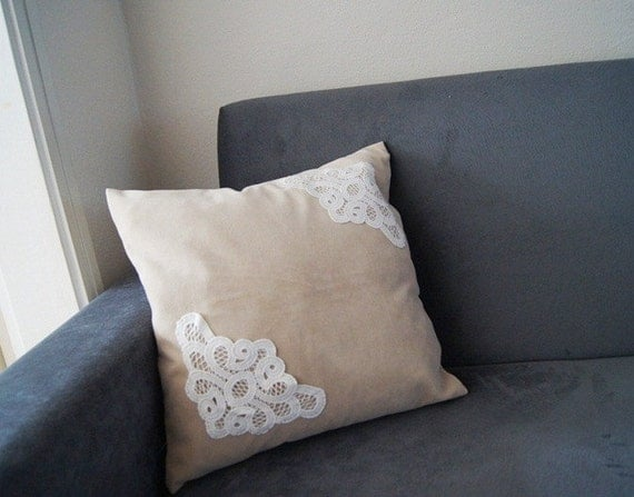 PILLOW / Beige Pillow Cover Lace Throw Pillow Pillow Cover