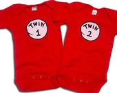 Twin Outfits Twin 1 Twin 2 /Thing 1 Thing 2 Onesies [TW1TW2/TH1TH2]