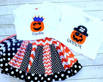 Sibling Halloween outfits Matching brother and sister Halloween skirt set girl Halloween chevron outfit boy pirate and princess outfit