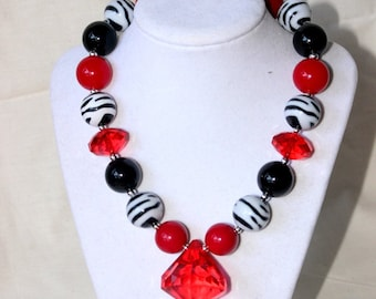 Valentines Day chunky necklace girls christmas necklace bubblegum necklace toddler zebra black red white  chunky bead necklace