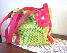 Lime Green Ladies Purse - Crochet Women's Handbag - Homemade Purse - ON SALE
