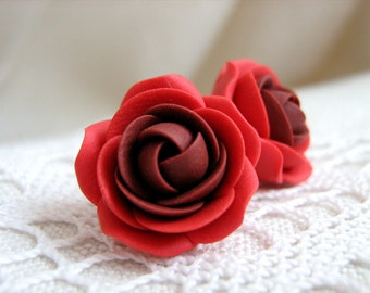 Polymer clay earrings - Red rose flower stud earrings