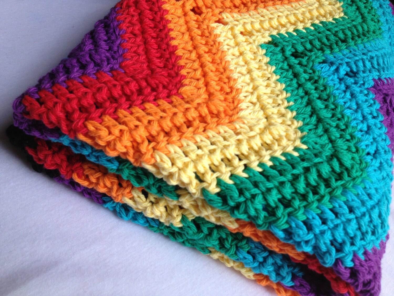 Crochet Rainbow Baby Blanket Pattern By Flavia : Rainbow rippled crochet afghan. Crib blanket. by ...