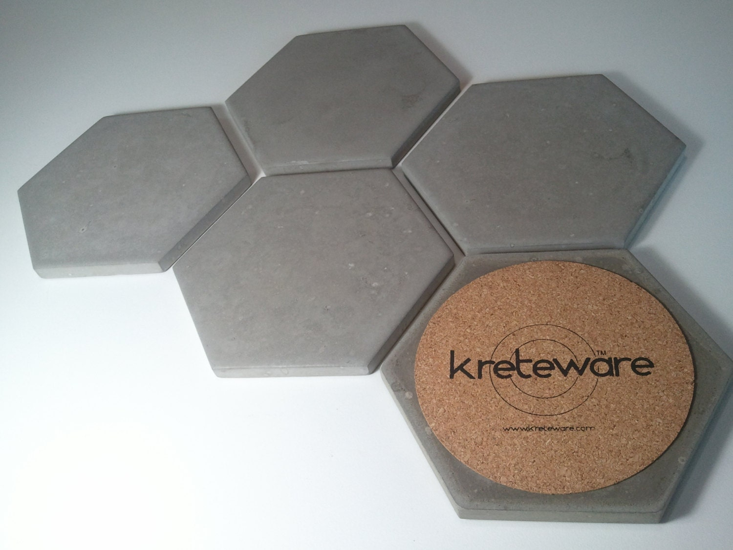 Concrete drink coaster set of 5 hex hexagon by kreteware for How to make concrete coasters