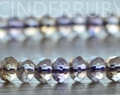 Ametrine Rondelles,Ametrine Crystal Rondelle Spacer Beads,Faceted Ametrine Beads,Amethyst Faceted Gemstone Beads,Untreated,Set of 50 Pcs