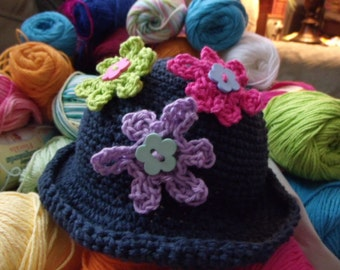girls crochet hats made with cotton yarn