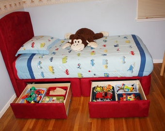 twin or full kids platform storage bed 2 large capacity drawers upholstered bed solid wood