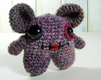 Small Mouse Monster in Pink, Blue and Grey