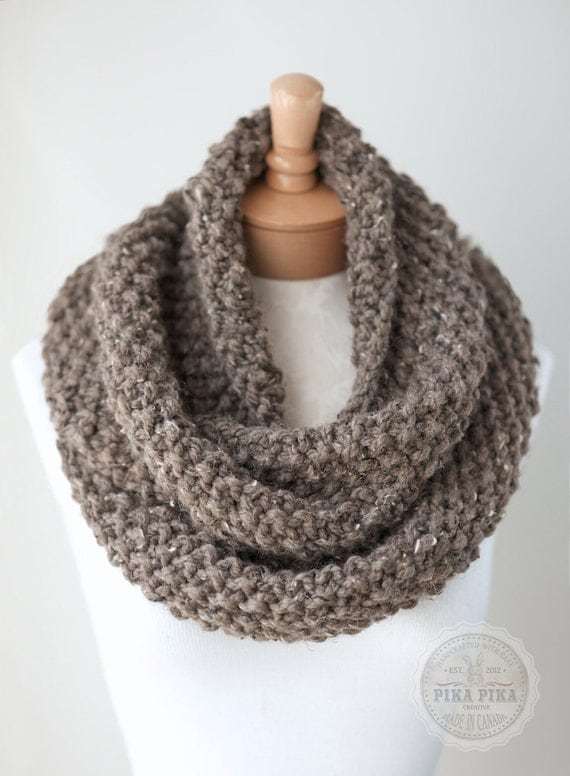 Fairisle Knitting Patterns : Knit infinity scarf chunky knit scarf in Taupe by PikaPikaCreative
