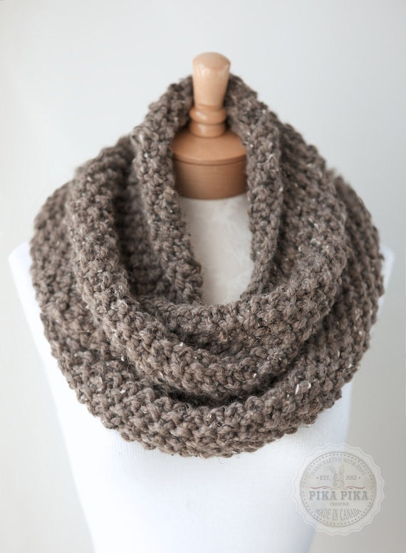Knitting Pattern For Thick Scarf : Knit infinity scarf chunky knit scarf in Taupe by PikaPikaCreative