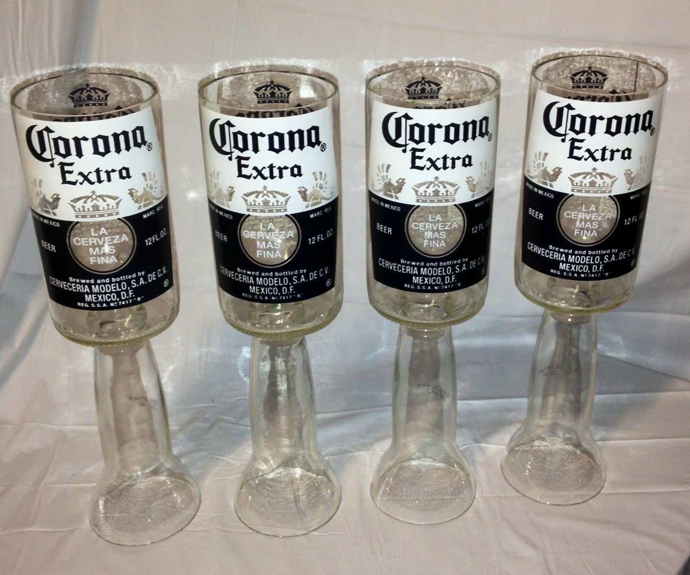 Wine glass corona beer bottle recycled upcycled for How to make corona glasses