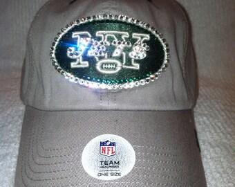 NFL Swarovski Rhinestone Crystal New York Jets Football Cap Hat in Tan and Green