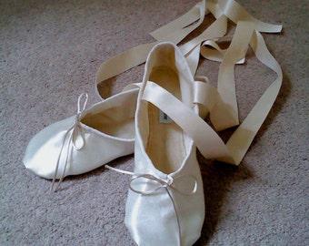Ivory Satin Ballet Slippers - Full  or Split Soles